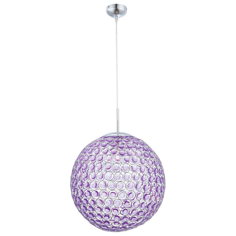 Globo Hängeleuchte chrom, Kugel, Acrylkristalle lila, D  400, exklusiv 1 x E27, 60 W, 230 V 16034