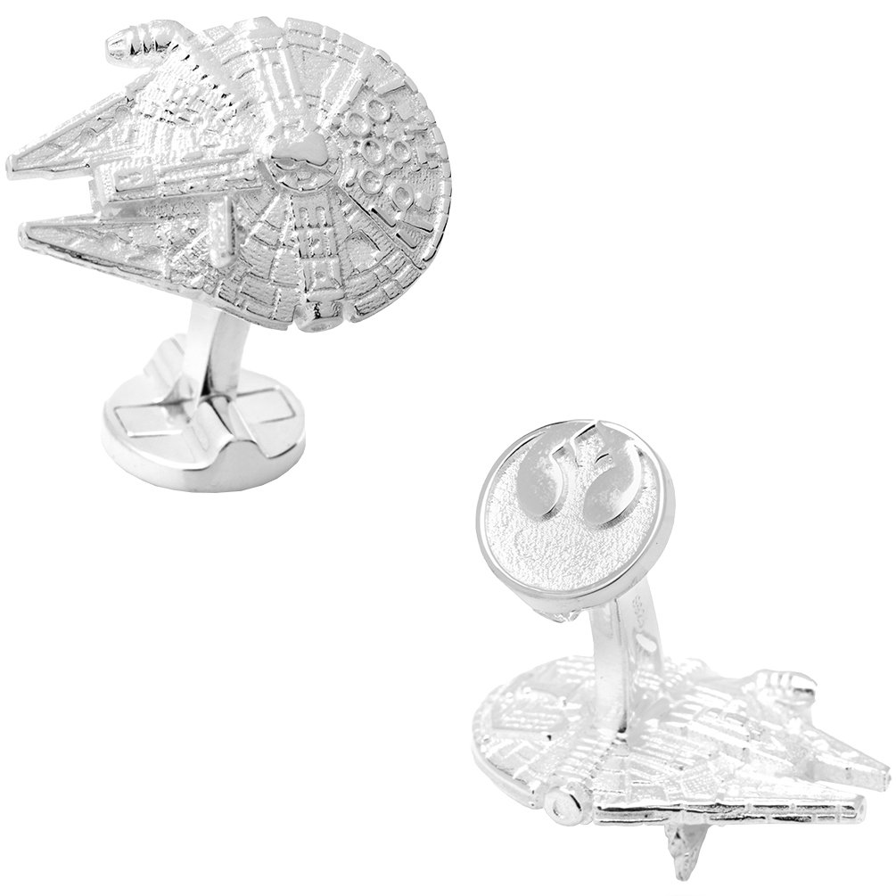 Millennium Falcon Officially Licensed Star Wars 3D Millennium Falcon Cufflinks, Silver
