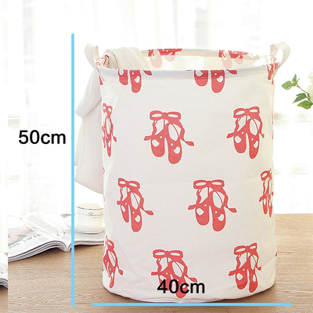 Yiuswoy Lightweight Cotton Laundry Basket Nursery Hamper Dirty Clothes Basket for College Dorms, Kids Room & Bathroom - Dance Shoes