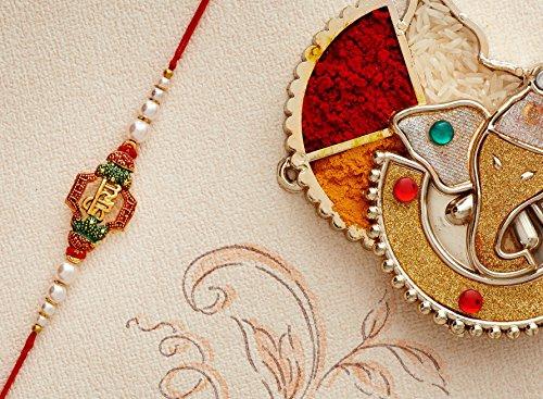 Rakhi for Brother Bhaiya Traditional Rakshabandhan Rakhee Thread Bracelet Rakhis (Design 13) by Eximious India Rakhi