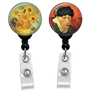 Vincent Van Gogh And Sunflowers - Retractable Lanyard Badge Reels - ID Name Tag Custom Badge Holders (Black Badge Reel with Belt Slide Clip 2 Pack)