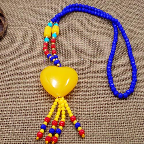 long handmade national wind autumn winter sweater chain accessories maitreya beeswax beads necklace pendant trend (love - Necklace Beeswax Beads