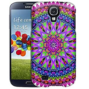 Samsung Galaxy S4 Case, Slim Fit Snap On Cover by Trek Mandala Neon Bird Feathers on White Case
