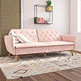 Novogratz Tallulah Memory Foam Futon, Multi-functional, Classic Vintage Design, Pink Velvet