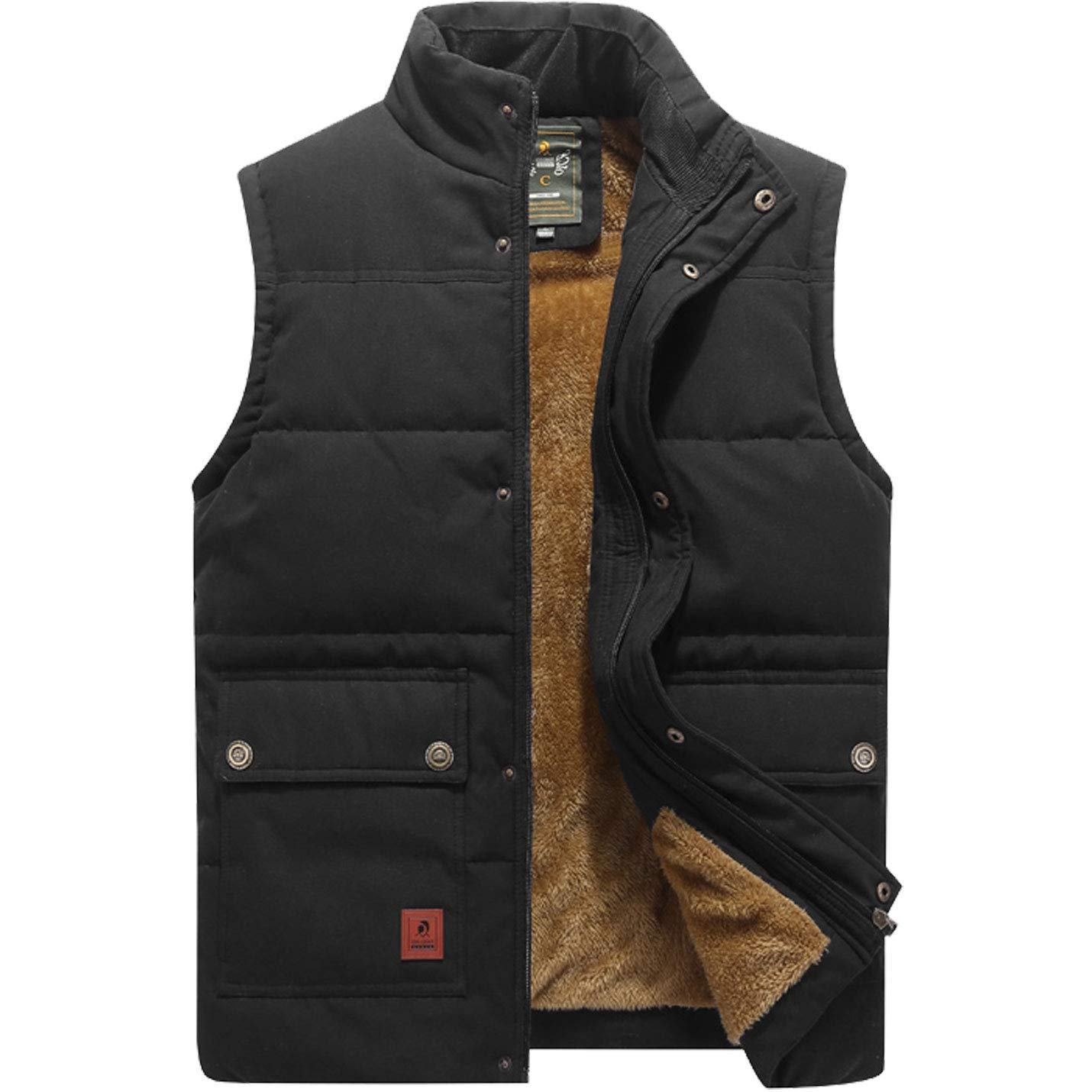 Flygo Men's Winter Warm Outdoor Padded Puffer Vest Thick Fleece Lined Sleeveless Jacket (Style 02 Black, X-Large) by Flygo