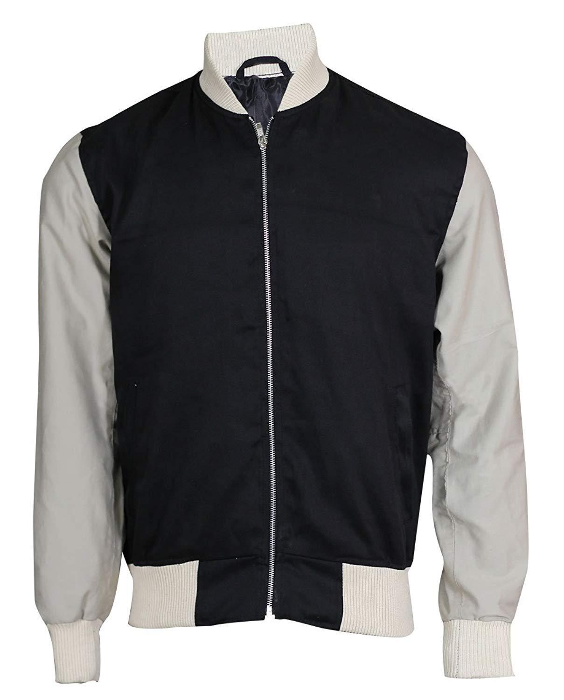 LP-FACON Baby Driver Jacket Ansel Elgort Baby Varsity Bomber Black Jacket
