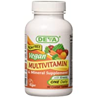 Deva Vegan Multivitamin and Mineral Supplement with Iron Free -- 90 Tablets
