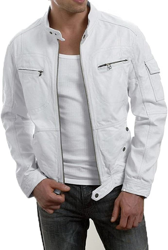 Stylish Mens Biker Motorcycle Slim Fit Leather Casual Jackets LF406