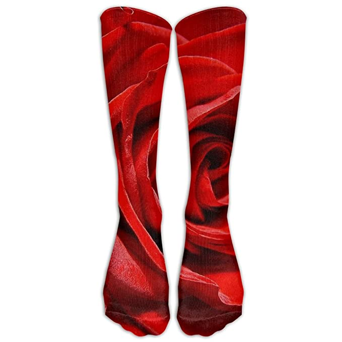 db4ef40a500b9 Amazon.com: High Boots Crew Red Rose Flowers Compression Socks ...