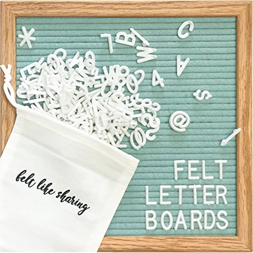 Green Light Letter (Light Seafoam Green Felt Letter Board 10x10 Inches. Changeable Letter Boards Include 300 White Plastic Letters & Oak Frame.)