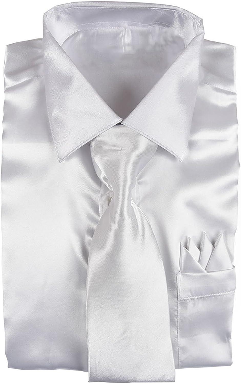 Men/'s Shiny Silky Satin Solid Dress Shirt w// Tie and Hanky Set 08