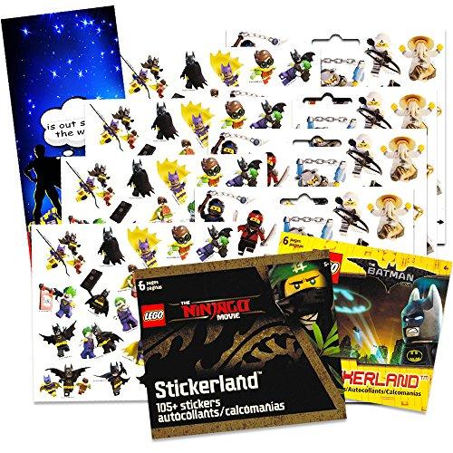 Lego Ninjago & Batman Stickers Party Supplies Set ~ 2 Sticker Packs ~ 12 Lego Batman & Ninjago Party Favors Sheets plus Bonus Door Hanger (240+ Stickers) (Lego Party)