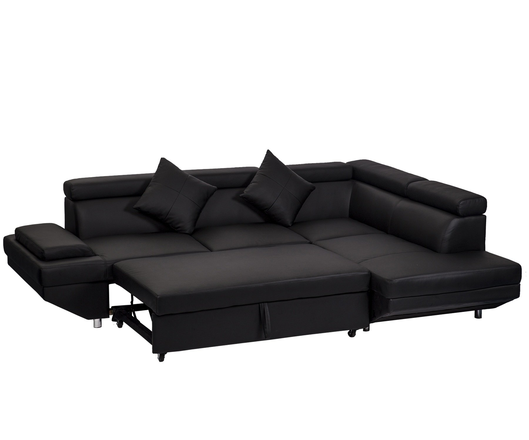 Details about Contemporary Black Leather Sectional Sleeper Futon Corner  Sofa Bed Living Room