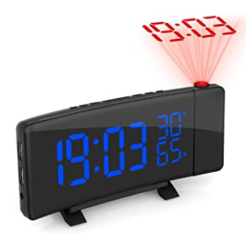 Zovcal - Radio Despertador con proyector Regulable, FM Reloj con ...
