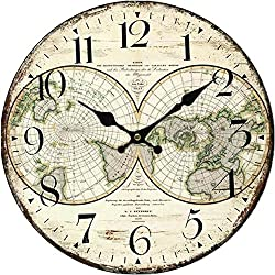 Grazing 12 Vintage Rustic Country Tuscan Style,Arabic Numerals ,World Map Pattern Design Wooden Round Home Decoration Wall Clock (Earth)