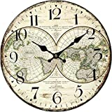 "Grazing 12"" Vintage Rustic Country Tuscan Style,Arabic Numerals,World Map Pattern Design Wooden Round Home Decoration Wall Clock (Earth)"