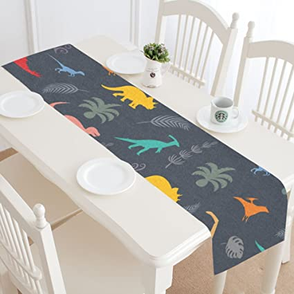 InterestPrint Table Runners Dinosaur Silhouettes Table
