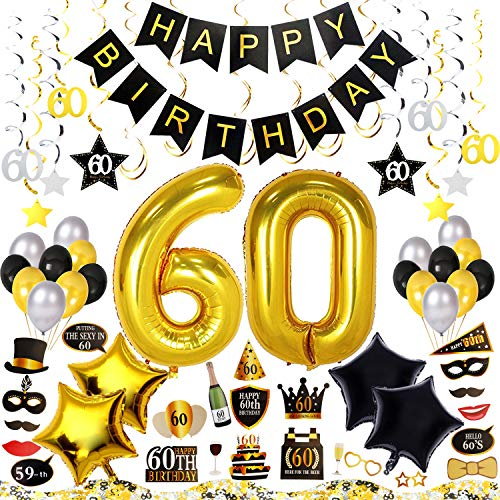60th Birthday Decorations Kit 79 Pieces - Happy Birthday Banner, 40-Inch 60 Gold balloons, Sparkling Hanging Swirls, Photo Booth Props, 60th Birthday Confetti for Table, Birthday Plan Checklist