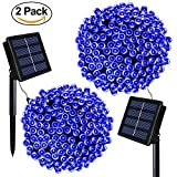 Solarmks DC-B2200 Solar 72ft Bule Outdoor String 2 Pack 200 LED Seasonal Decorative Lighting for Home, Lawn, Garden, Wedding, Patio, Party and Holiday