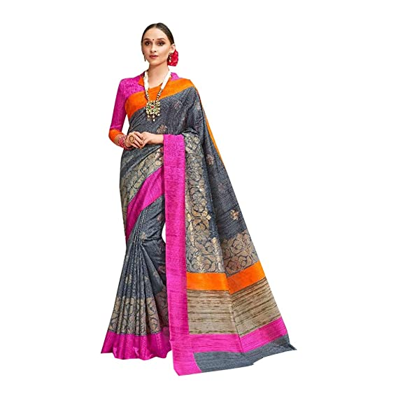 63eef09187dc3 Silk Contrast Work Saree Blouse Party Wear 7575  Amazon.in  Clothing    Accessories