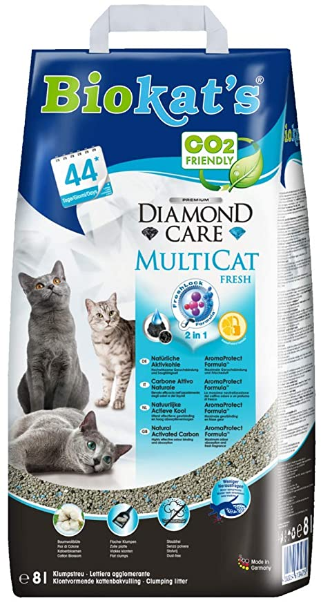 Arena para gatos Biokat s Diamond Care sin polvo, con aroma, dispersa,