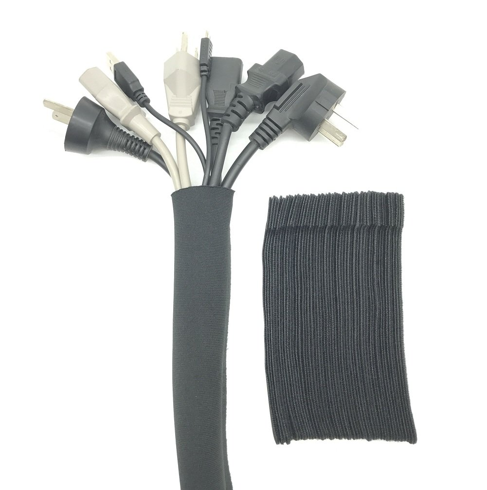Cable Management Sleeves & Cable Ties, DIGSELL 4pack Cable Management Sleeve with 50 PCS Fastening Cable Ties, Neoprene Cable Wrap for TV / Computer / Home Entertainment