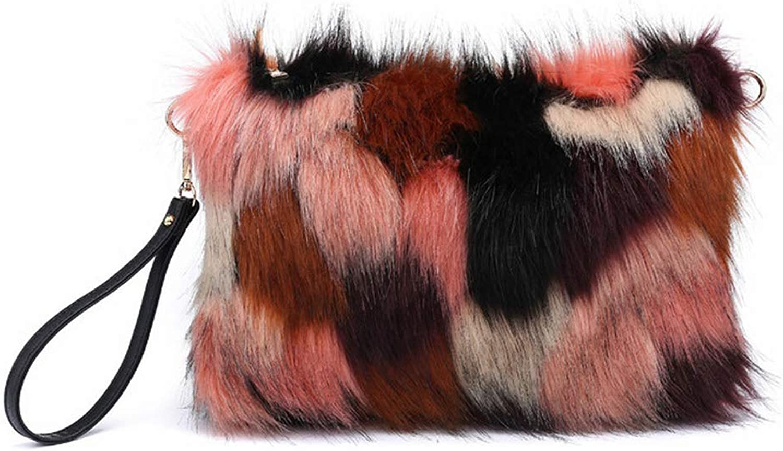 Women Clutch Bags And Purse Imitate Fur Handbags Tassels Causal Clutches Bag Christmas Gift