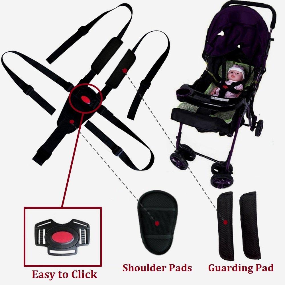 Ceinture de sécurité par Zarpma, 5/3/2Point de l'assise réglable Harnais pour bébé Kid Safe Sangle pour poussette Chaise haute (Inclure Coussinets d'épaule et Guarding Pad)