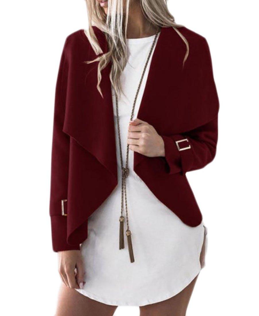Comfy-Women Lapel Irregular Cardigan Pure Color Blazer Short Outerwear Wine Red M