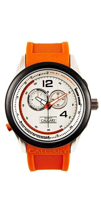 Relojes Calgary Daikoku. Reloj clásico para Hombre con Correa de Goma Naranja con Esfera en Color Blanca: Amazon.es: Zapatos y complementos