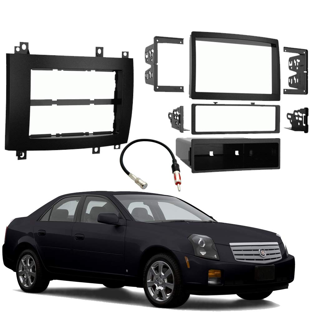Fits Cadillac CTS 2003-2007 Single or Double DIN Stereo Radio Install Dash Kit Black