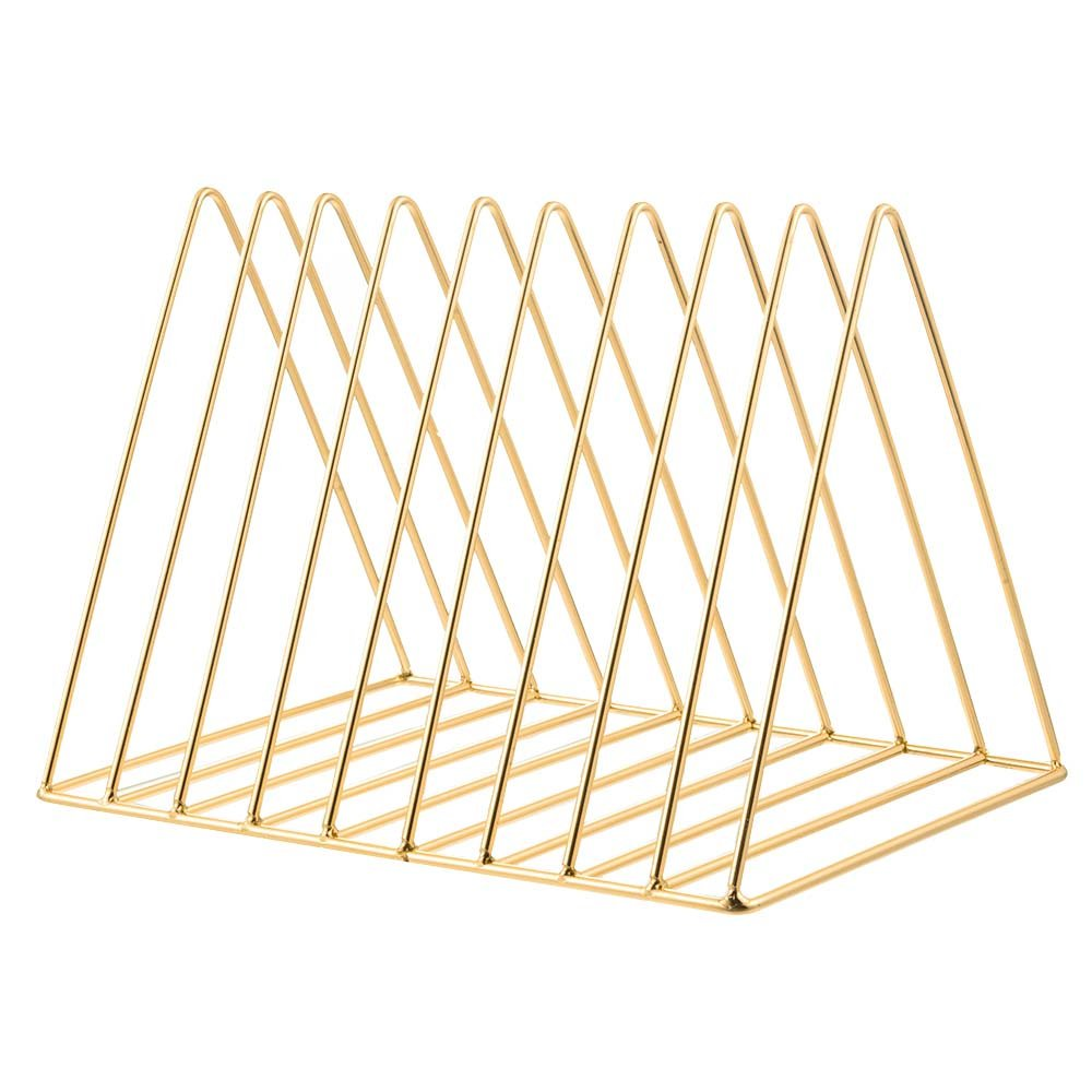 For Lashes Metal Triangular Bookcase Exquisite Magazine File Desktop Document Holder Desk Table Shelf Storage Unit with 9, Gold, One Size F.lashes