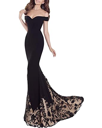 041544ea494 Ever-Beauty Womens Long Off Shoulder Mermaid Prom Dress Evening Party Gown  at Amazon Women s Clothing store