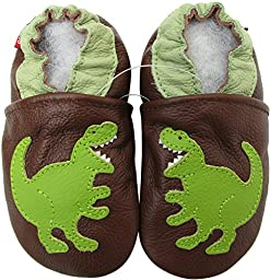 Carozoo baby boy soft sole leather infant toddler kids shoes T-REX Brown 6-7y