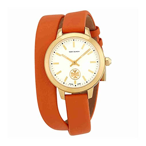 Amazon Tory Burch Collins Ivory Dial Orange Double Wrap Ladies