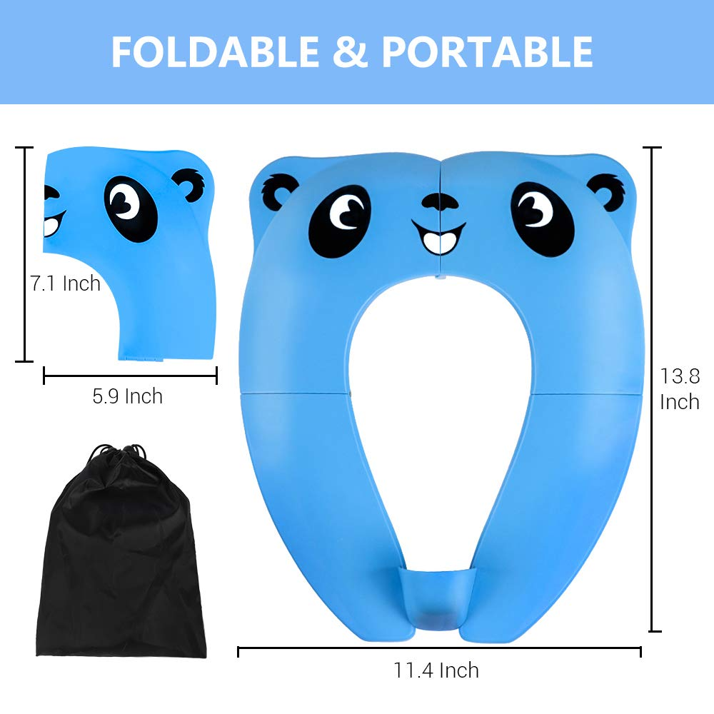 Pink 8 Non-Slip Pads for Kids Child Baby Girls Boys Folding Potty Training Seat TYRY.HU Toddler Portable Travel Toilet Seat Cover Foldable Reusable Potty Ring with Upgrade Splash Guard