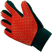 Inditradition Pet Grooming Glove, Hair Removal & Deshedding Brush Glove | Pet Massage Glove, for Right Hand, Pack of 1 (Red)