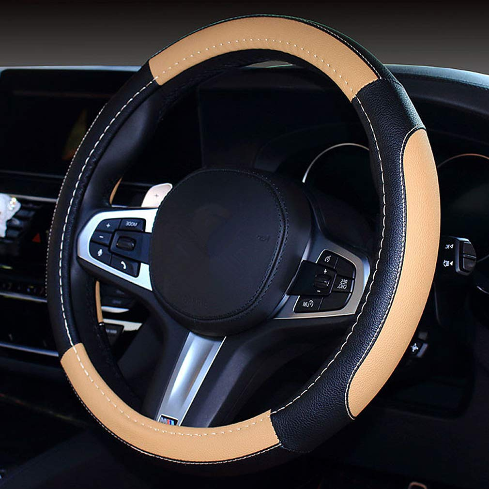 Hand Stitching Leather Steering Wheel Covers Pahajim Universal 15 Inch Microfiber Leather Car Steering Wheel Cover Breathable Anti-Slip,Soft and Comfort black-white