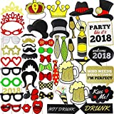 PeeNoke Toy New Year Eve 2018 Glittered Photo Booth Props for New Year Eve Party Supply Party Favor