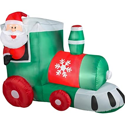 4 ft gemmy airblown inflatables santa in train outdoor christmas decor lights up with energy