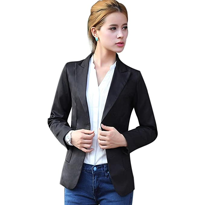 Amazon.com: jingjing1 Mujer Casual Oficina chamarra, Slim de ...