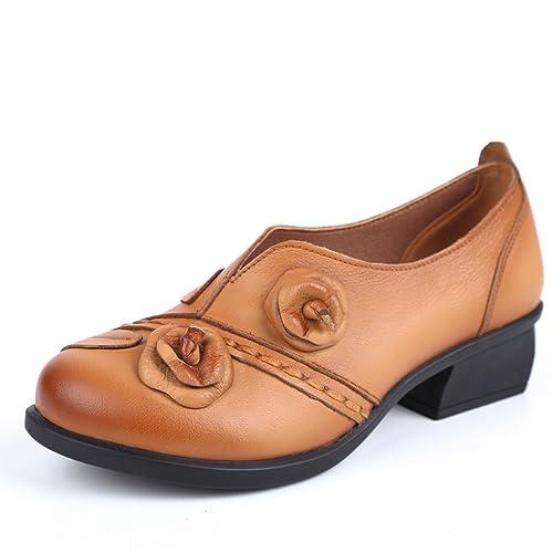 premier taux 808ec 383a4 Socofy Mocassins Femme, Chaussures de Ville en Cuir à Fleurs Escarpins à  Enfiler avec Talons Carrés - Printemps Eté - Noire Marron Bleue (Grille de  ...