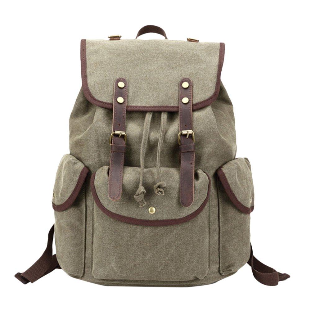 Zhuhaitf Casual Canvas Backpack Waterproof Retro Travel Rucksack Camping Daypack