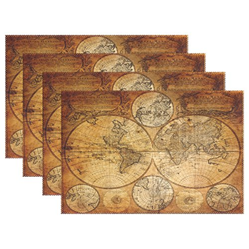 Vintage Old World Map Heat-resistant Table Placemats Set of 6 Stain Resistant Table Mats Washable Eat Mat for Parties Everyday & Holidays Use
