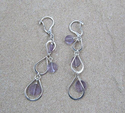 Briolette Hoop Crystal Earrings (Sterling Amethyst Earrings)