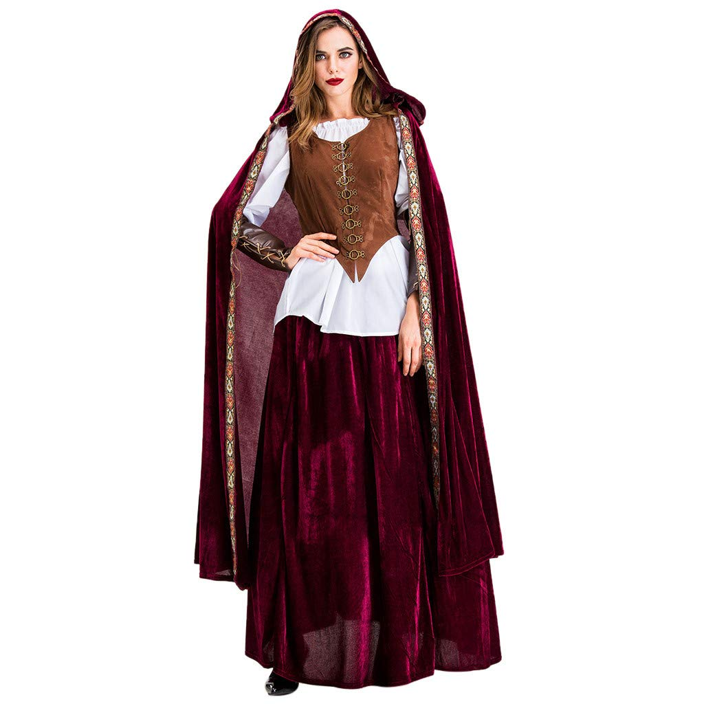 Onegirl Halloween Cosplay Costume Suit for Women Vintage Little Red Riding Hood Witch Medieval Court Dress by Onegirl Clothing