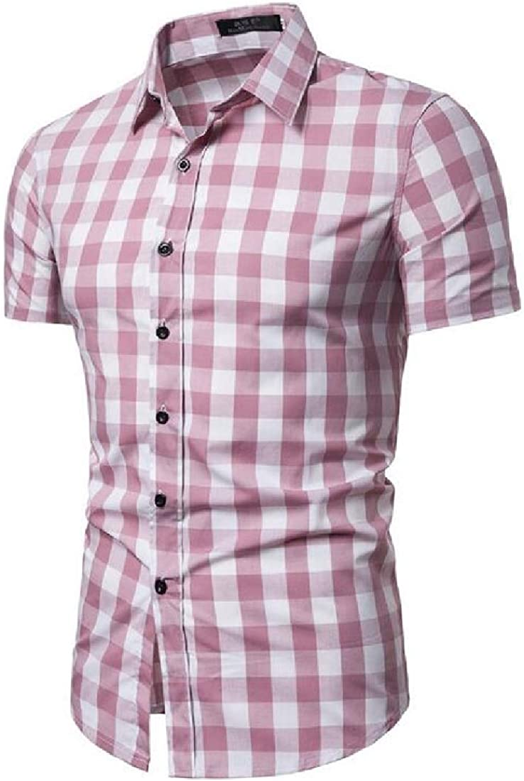 Rrive Mens Button Up Casual Regular Fit Short Sleeve Plaid Flannel Checkered Shirt