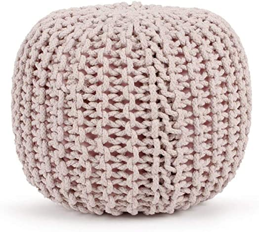 Cotton Pouf, 16 x 16 x 16 Small size, Hand-Knit Decorative and Comfortable Foot Stool and Ottoman – Lilac