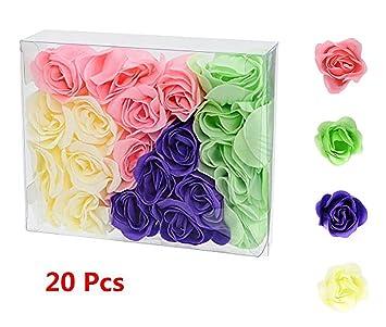 Jabón de Manos Rose Flor Ramo de Rosas Aceites Esenciales Hecho a Mano Cuidado de la Piel 20pcs Regalo para Muejeres, Niñas, Muchachas, Amor, Novia, ...