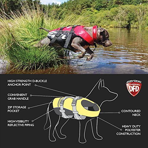 Image of EzyDog Premium Doggy Flotation Device (DFD) - Adjustable Dog Life Jacket Preserver with Reflective Trim - Durable Grab Handle for Safety and Protection - 50% More Flotation Material (Small, Red)